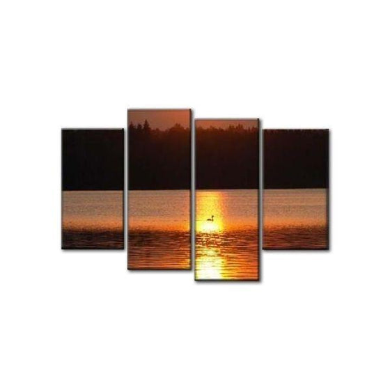 Sunset Sea Reflection Canvas Wall Art