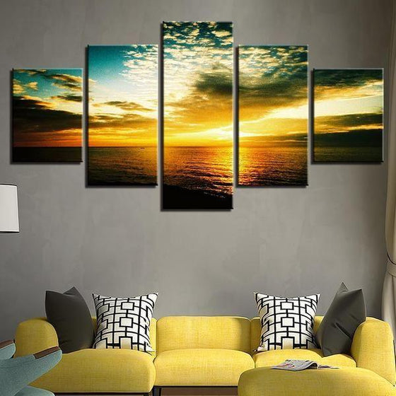 Beautiful Beach Sunset Canvas Wall Art Living Room Decor