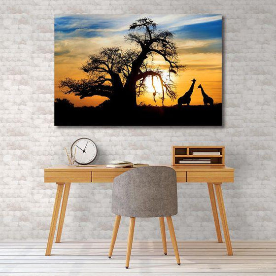 Sunset & Giraffe Silhouettes Canvas Wall Art Bedroom
