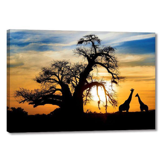 Sunset & Giraffe Silhouettes Canvas Wall Art Print