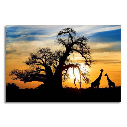 Sunset & Giraffe Silhouettes Canvas Wall Art