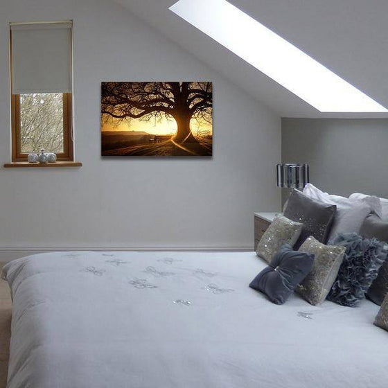 Sunset With Old Tree Wall Art Bedroom