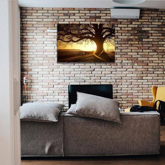 Sunset With Old Tree Wall Art Canvas