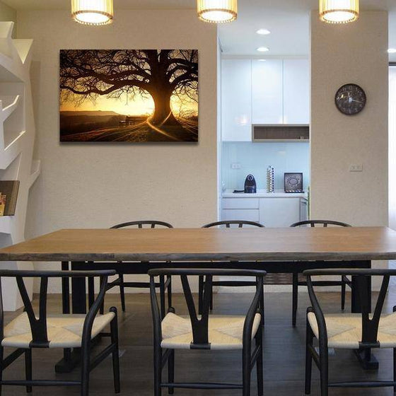 Sunset With Old Tree Wall Art Dining Room