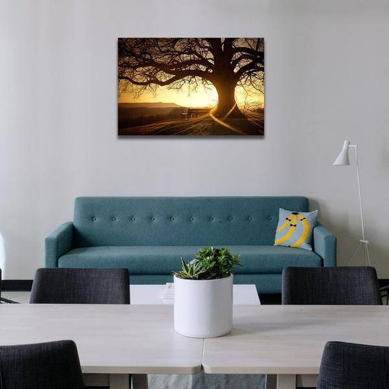 Sunset With Old Tree Wall Art Living Room