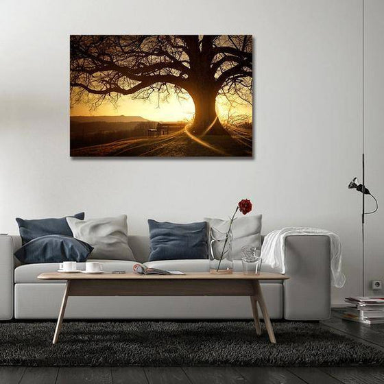 Sunset With Old Tree Wall Art Print