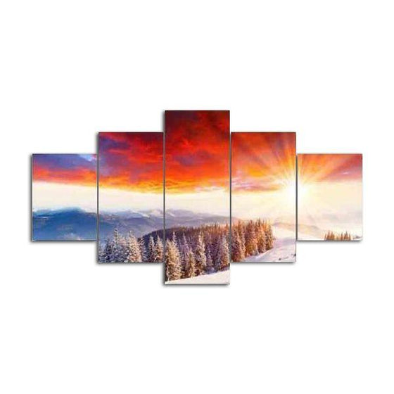 Sunshine On Icy Mountain Canvas Wall Art
