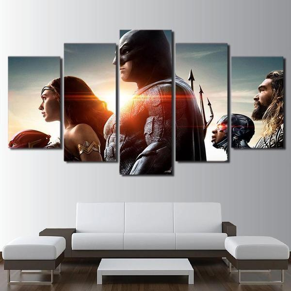 Justice League Characters Inspired Design Canvas Wall Art — canvasx.net