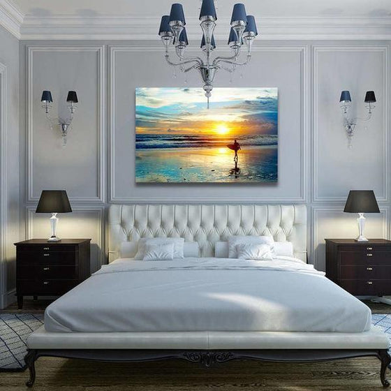 Surfer And Sunset Wall Art Bedroom
