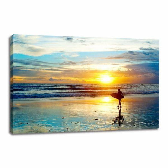 Surfer And Sunset Wall Art Canvas