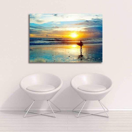 Surfer And Sunset Wall Art Decor