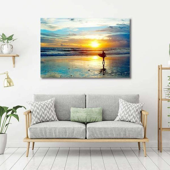 Surfer And Sunset Wall Art Living Room
