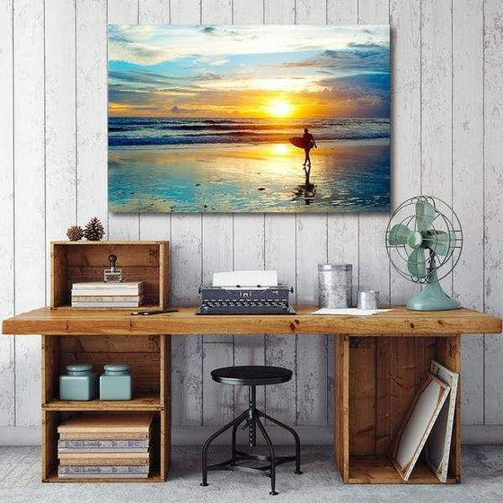 Surfer And Sunset Wall Art Print