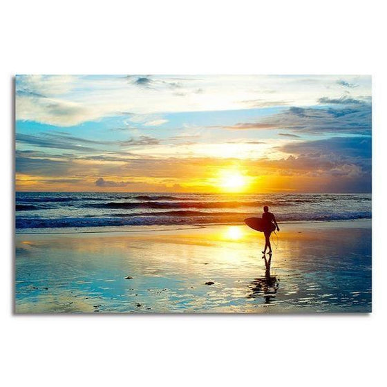 Surfer And Sunset Wall Art