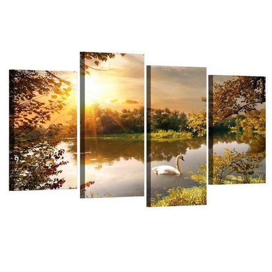 Swan By The Lake Sunset Canvas Wall Art Ideas