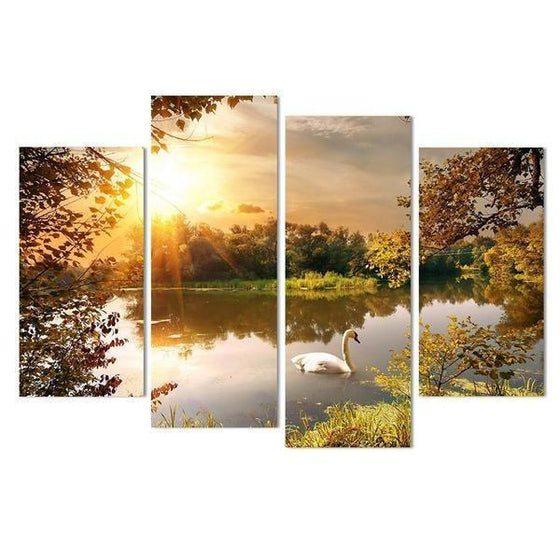 Swan By The Lake Sunset Canvas Wall Art