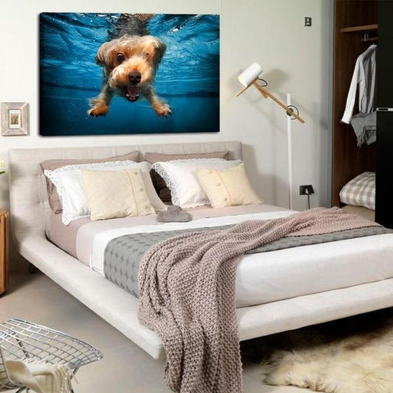 Swimming Adorable Dog Canvas Wall Art Bedroom