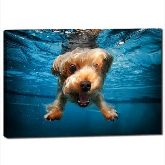 Swimming Adorable Dog Canvas Wall Art Decor