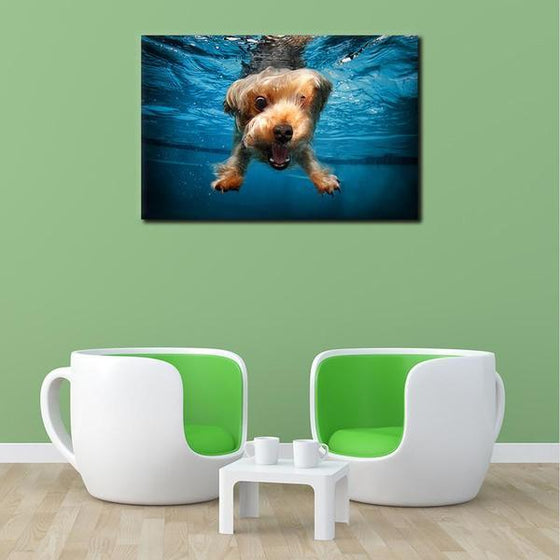 Swimming Adorable Dog Canvas Wall Art Decors