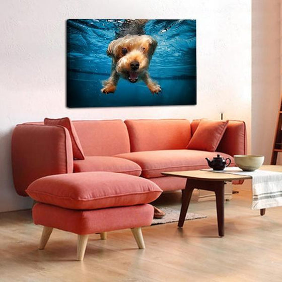 Swimming Adorable Dog Canvas Wall Art Living Room