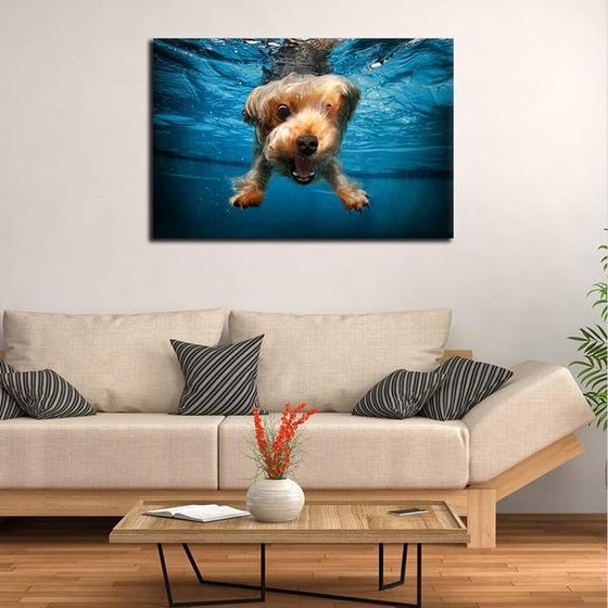 Swimming Adorable Dog Canvas Wall Art Print