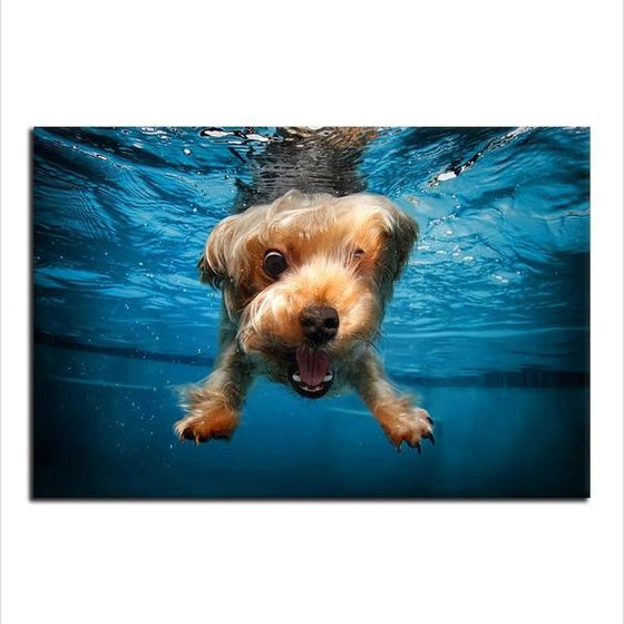 Swimming Adorable Dog Canvas Wall Art