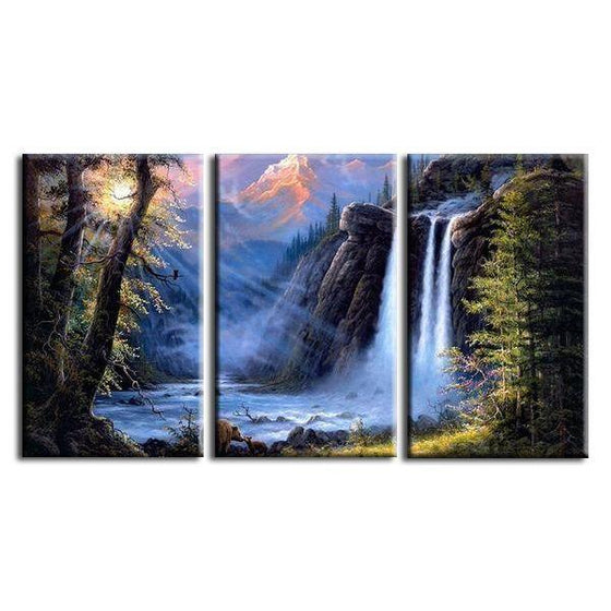 Tall Trees & High Waterfalls Canvas Wall Art
