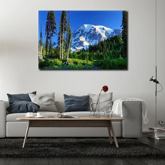 Tall Trees And Snowy Mountain Wall Art Decor