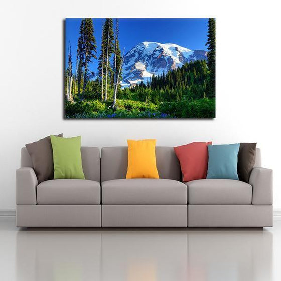 Tall Trees And Snowy Mountain Wall Art Ideas