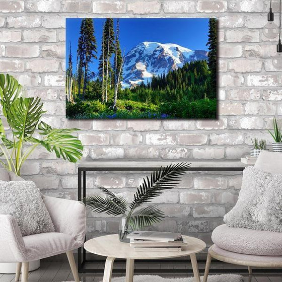 Tall Trees And Snowy Mountain Wall Art Living Room
