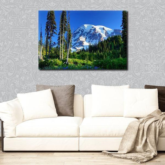 Tall Trees And Snowy Mountain Wall Art Print