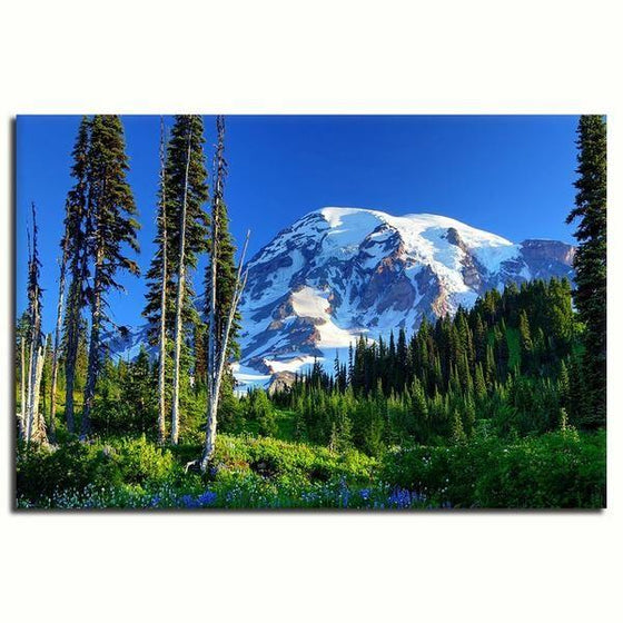 Tall Trees And Snowy Mountain Wall Art