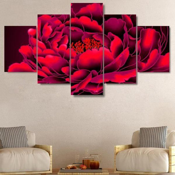 Red Big Flower Canvas Wall Art