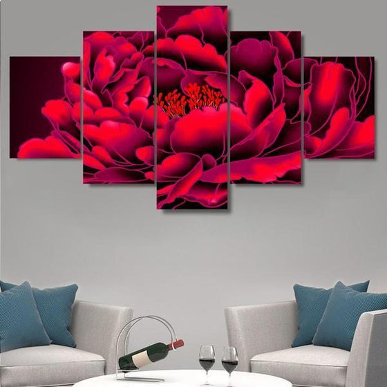 Red Big Flower Canvas Wall Art Decor