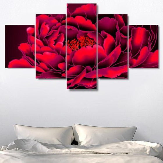 Red Big Flower Canvas Wall Art Bedroom