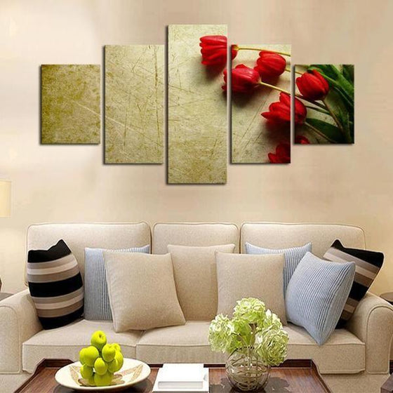 Red Flower Canvas Wall Art Decor