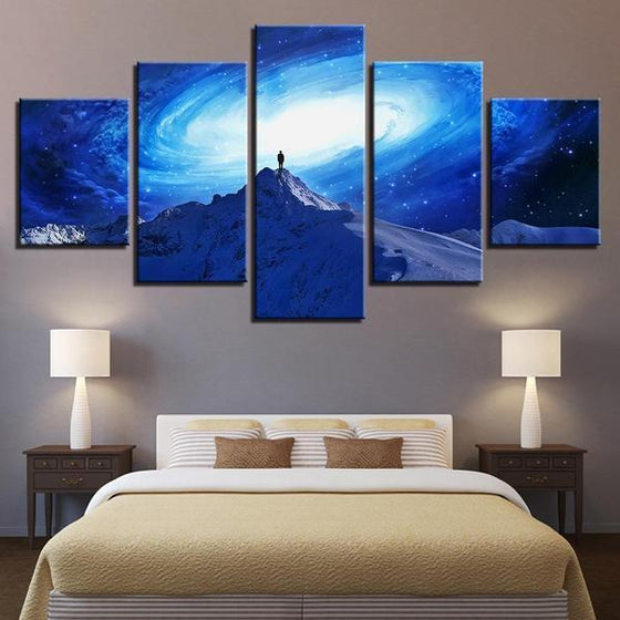 Frozen Mountain Galaxy View Canvas Wall Art Bedroom