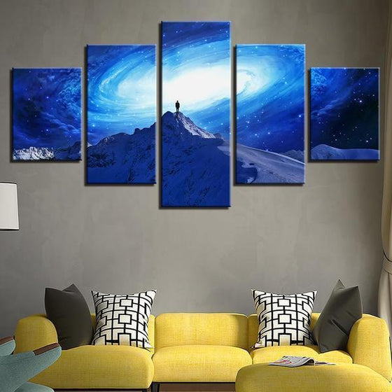 Frozen Mountain Galaxy View Canvas Wall Art Living Room