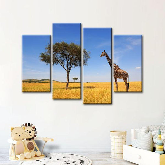 Tree & Giraffe In Africa 4 Panels Canvas Wall Art Decor