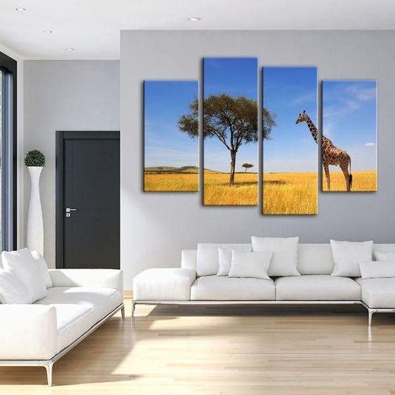 Tree & Giraffe In Africa 4 Panels Canvas Wall Art Living Room