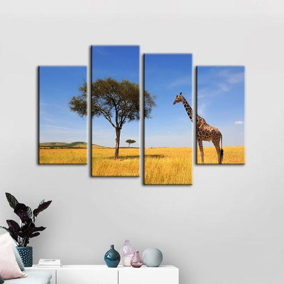 Tree & Giraffe In Africa 4 Panels Canvas Wall Art Set