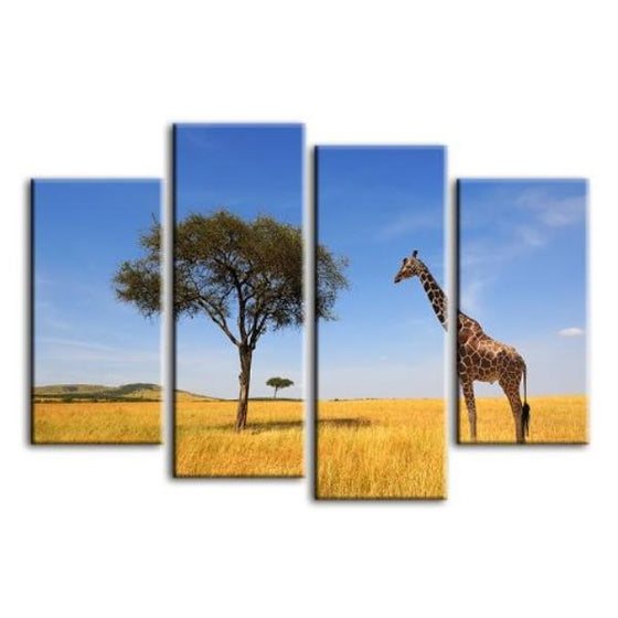 Tree & Giraffe In Africa 4 Panels Canvas Wall Art