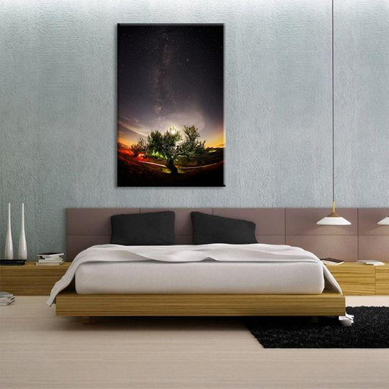 Tree & Starry Night Sky Canvas Wall Art Bedroom