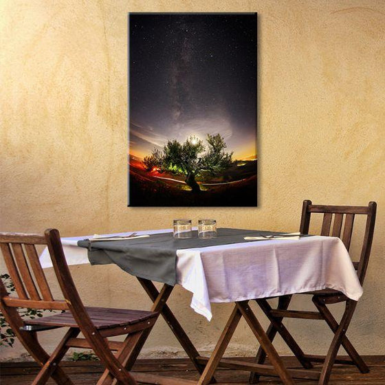 Tree & Starry Night Sky Canvas Wall Art Dining Room