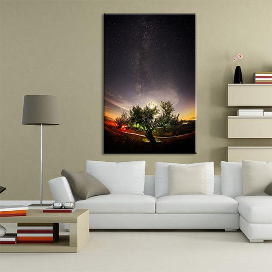 Tree & Starry Night Sky Canvas Wall Art Living Room