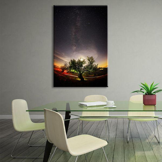 Tree & Starry Night Sky Canvas Wall Art Office