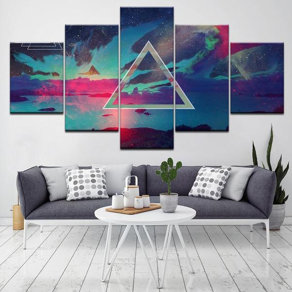 Colorful Clouds With Triangle Shape In The Middle Canvas Wall Art ...