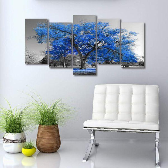 Tropical Blue Leaf Tree Canvas Wall Art Decor