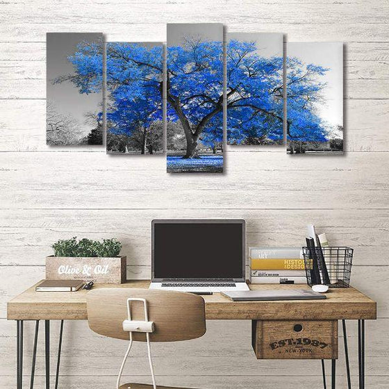 Tropical Blue Leaf Tree Canvas Wall Art Ideas