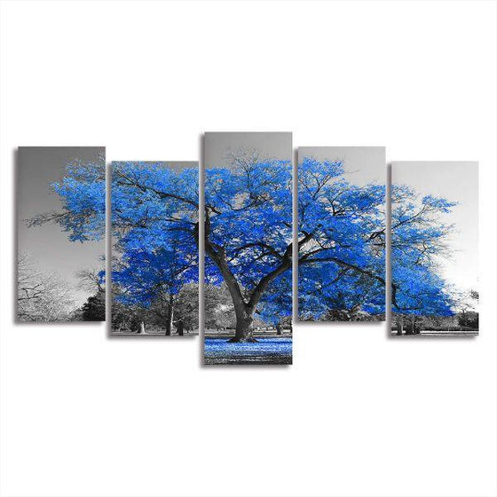 Tropical Blue Leaf Tree Canvas Wall Art